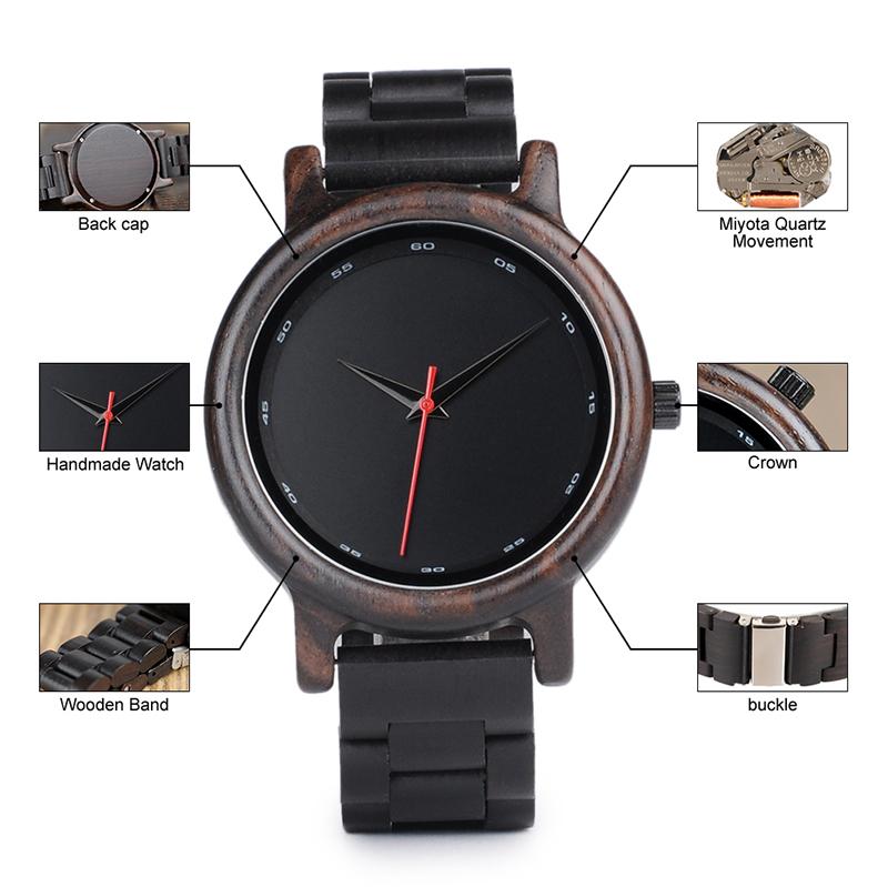 Zegarek drewniany Bobo Bird Black P10 8