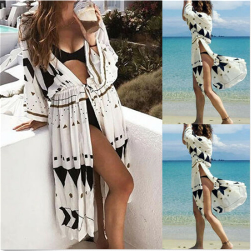 Summer Sun Protection Beach Dress Women Sarongs Beach Cover-Up Swimwear Seven Quarter Sleeve Beach Tunics Bathing Suit Cover Ups
