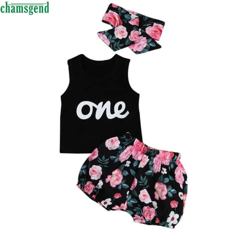 CHAMSGEND Neue dropship nette mode Kleinkind Kleinkind Kinder Baby Mädchen Outfits Kleidung T-shirt Tops + Pants + Stirnband Set MAR29 P30