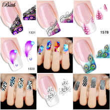 Bittb 5Pc Flower Feather Nail Stickers Decals Water Transfer Leopard Nail Art Sticker Tattoo French Manicure Decoration Foil(China)