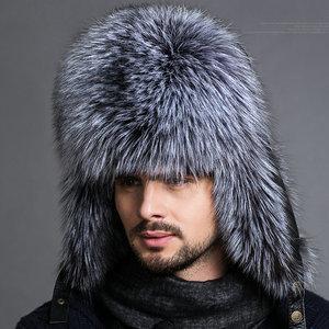 Image 3 - חם גבוהה סוף יוקרה פרווה כובע גברים של שועל פרווה כובע ליי פנג כובע אוזן כובע פרווה הכרחי כובע אמיתי פרווה כובע 100% כבש למעלה שועל כובע