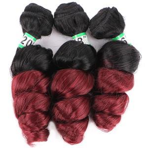Два тона Омбре черный до фиолетовый красный бордовый свободная волна синтетические волосы для наращивания высокая температура пучок волос...