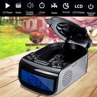 Digital LCD Alarm Clock Dual Speaker Tuning Am/Fm Radio CD Music Player Machine 110V/220V 21x14.5x9cm Adjustable Brightness