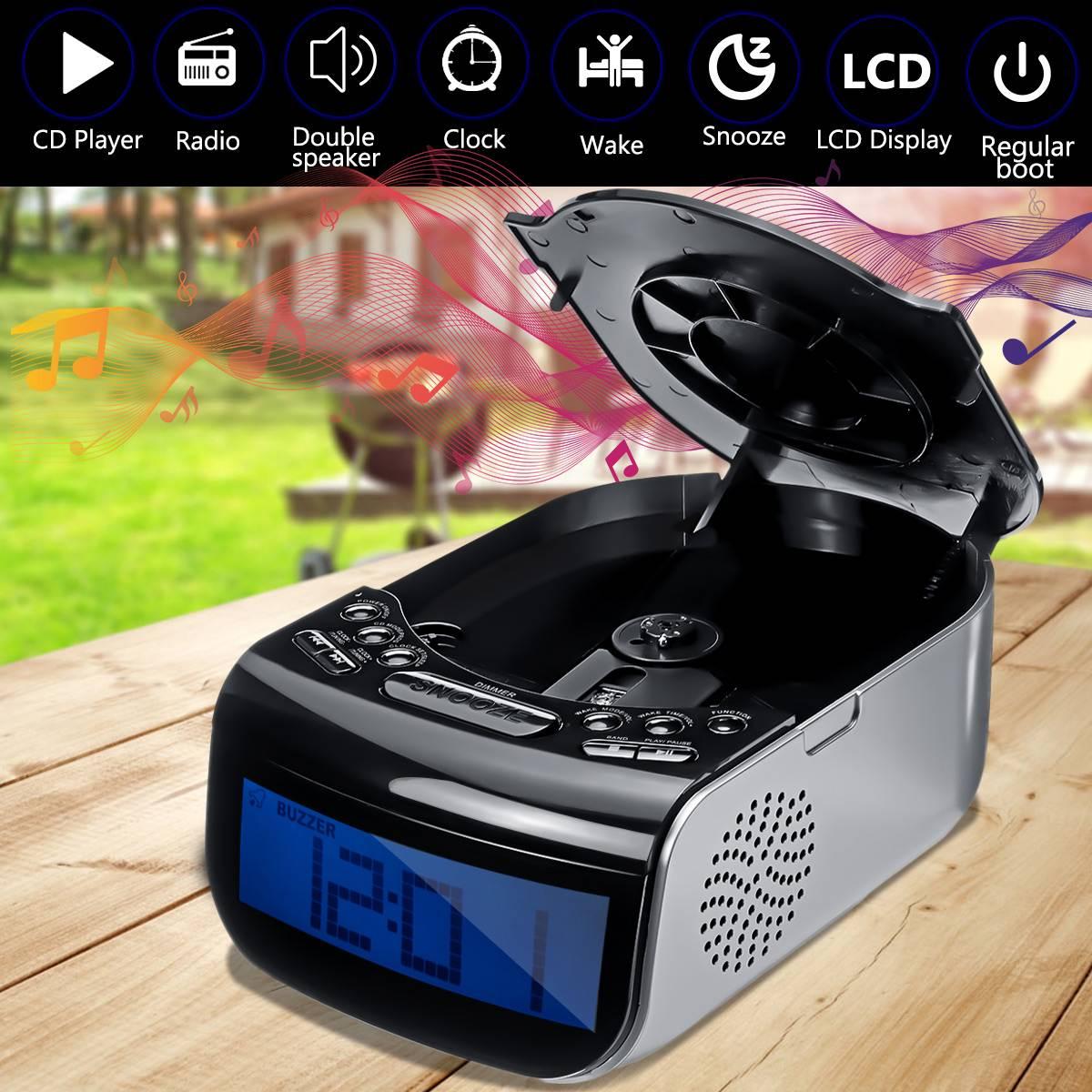 Réveil numérique LCD double haut-parleur Tuning Am/Fm Radio lecteur de musique CD Machine 110 V/220 V 21x14.5x9 cm luminosité réglable