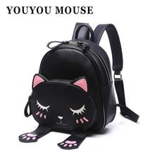 Youyou mouse mochilas ocasional gato encantador animal patrón bolsas bolso de escuela del estudiante de la pu de cuero hombros mochila impermeable
