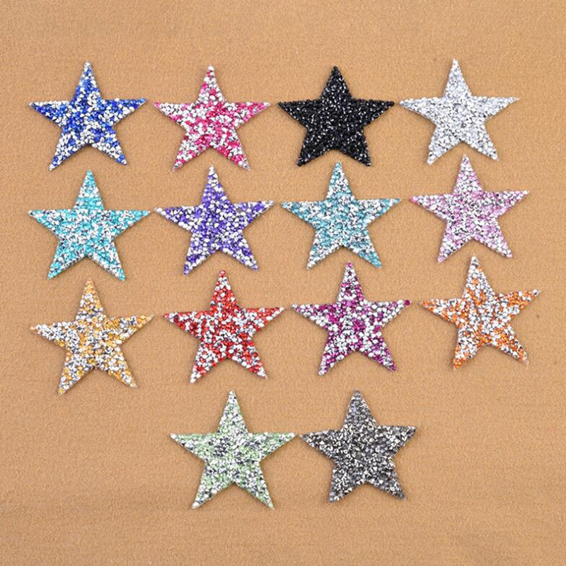 1 PCS 6cm Colorful Drilling Star parches Embroidered <font><b>Iron</b></font> <font><b>on</b></font> <font><b>Patches</b></font> for Clothing DIY Stripes Clothes Stickers <font><b>Custom</b></font> Badges image