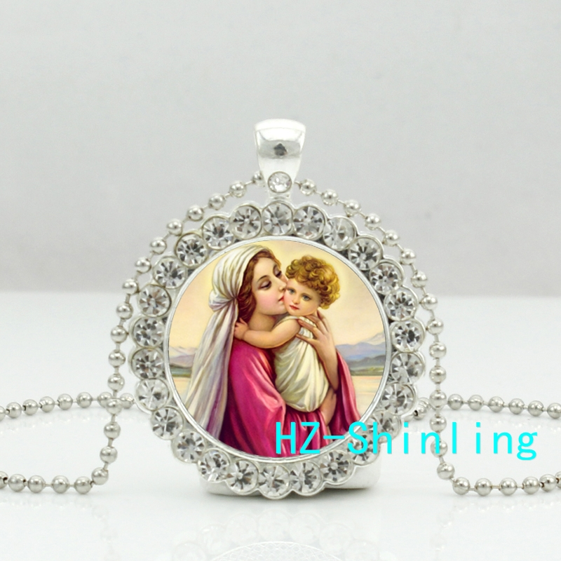 DC--00251 New Vintage Mother Of Baby Necklace Vierge Crystal Pendant Art Painting Jewelry Jesus Glass Photo Necklaces Ball Chain