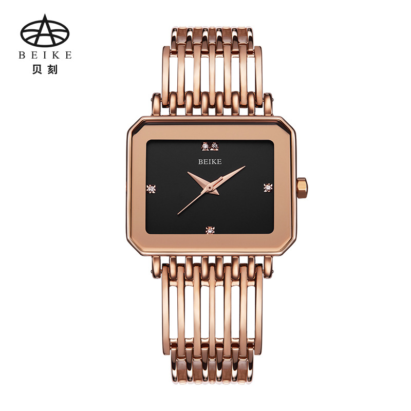 BEIKE Watch Ladies Quartz Watch Waterproof Steel Band Small Dial Dial Watch Fashion Female Rose Golden Clock Women Wristwatch quartz watch with small diamond dots indicate leather watch band hearts pattern dial for women