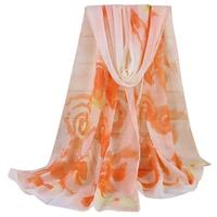 Buy direct from China Hot Fashion Lady Women Floral Prints Shawl Chiffon Scarf bandanas headwear swimwear playa mujer halstuch