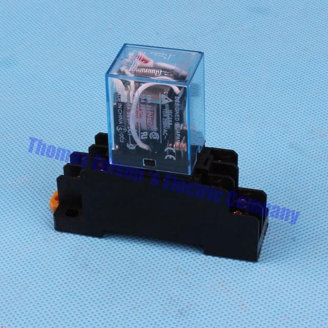 DMWD Coil Power Relay DPDT LY2NJ JQX 13F 10A With Socket Base AC