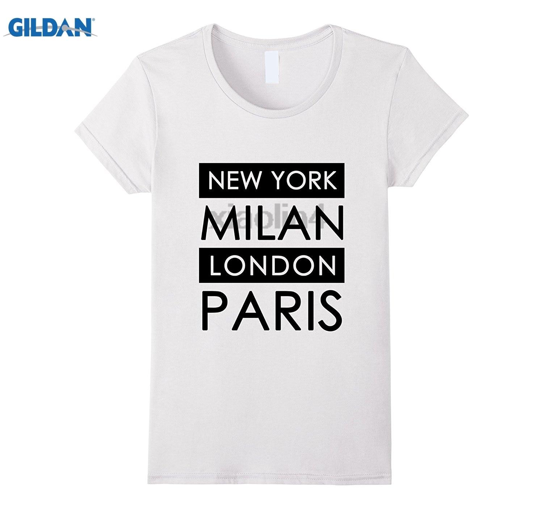 GILDAN T-Shirt, New York, Milan, London, Paris GILDAN 100% Pure cotton O signage flower item tile covering Hot Womens T-shirt