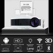 2018 NEW Sv-328 Projector Business Home Wireless With Screen Led Projector 10800p High Definition US-Black and White