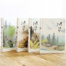 Vintage Notebook Chinese Style Hardcover Blank Color Pages Paper Illustration Diary Travel Diary Planner Sketchbook A5 Notebooks
