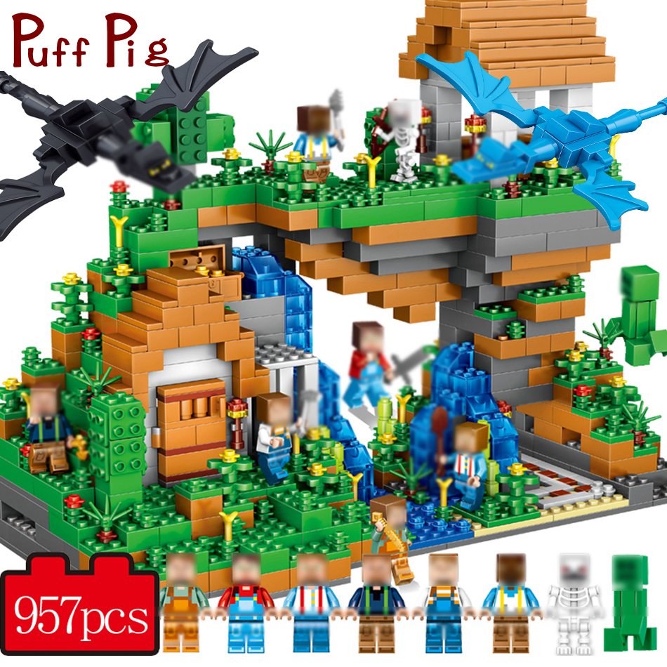 957+PCS My World Hidden Water Falls Building Blocks Bricks Toys Educational Toy Gift For Kids Compatible Legoed Minecrafted City цена