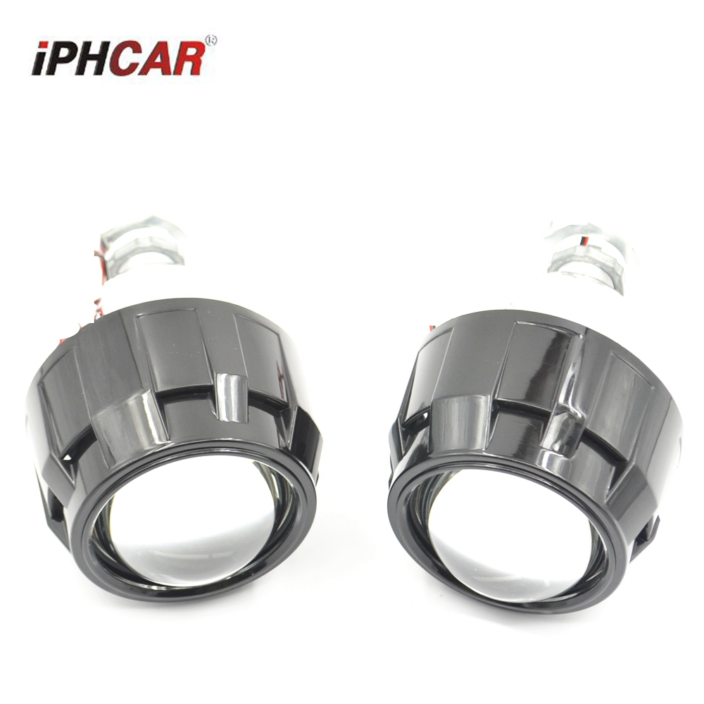 2pcs hid bixenon Projector lens car Bi-xenon projector lens hid xenon kit with black shrouds h1 h4 h7 car styling погодная станция ea2 en206