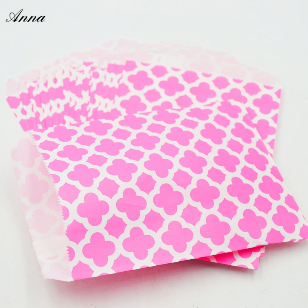 25pcs 5x7 Colorful Chevron/flower Grease Food Paper Bags For Baby Shower Wedding Decor Birthday Party Supplies