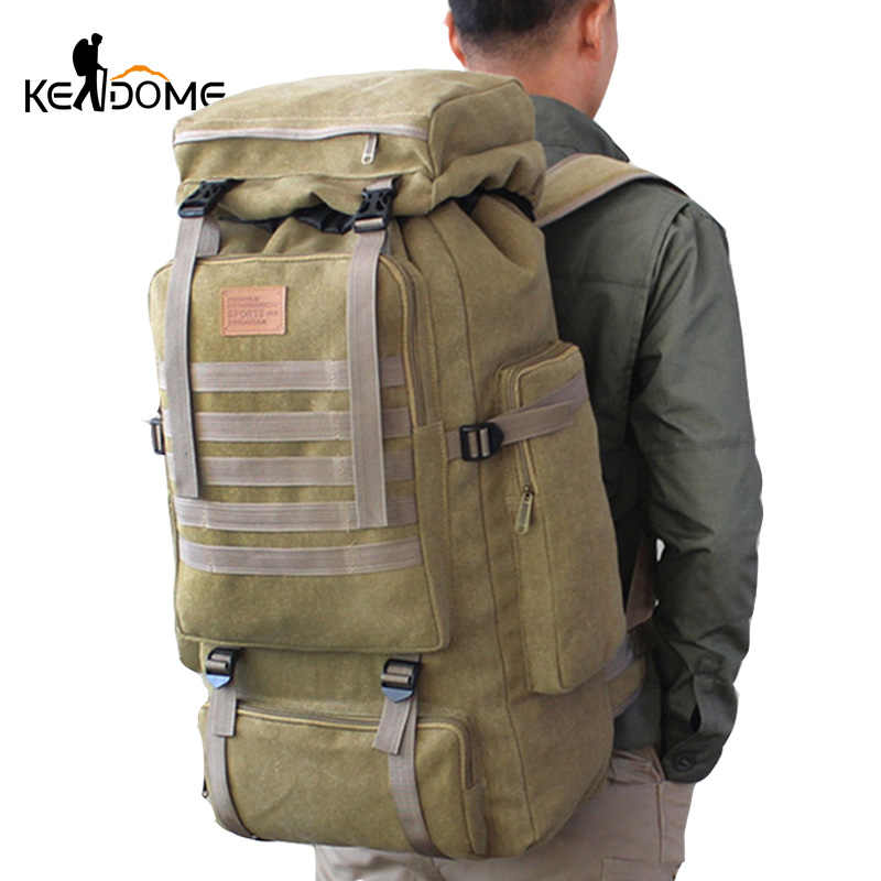 77357fd22 60L Large Military Bag Canvas Backpack Tactical Bags Camping Hiking  Rucksack Army Mochila Tactica Travel Molle