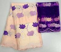 Latest African Lace Fabric 2018 High Quality Lace Pink with purple French Guipure Nigerian Lace Fabrics With Stones For Party