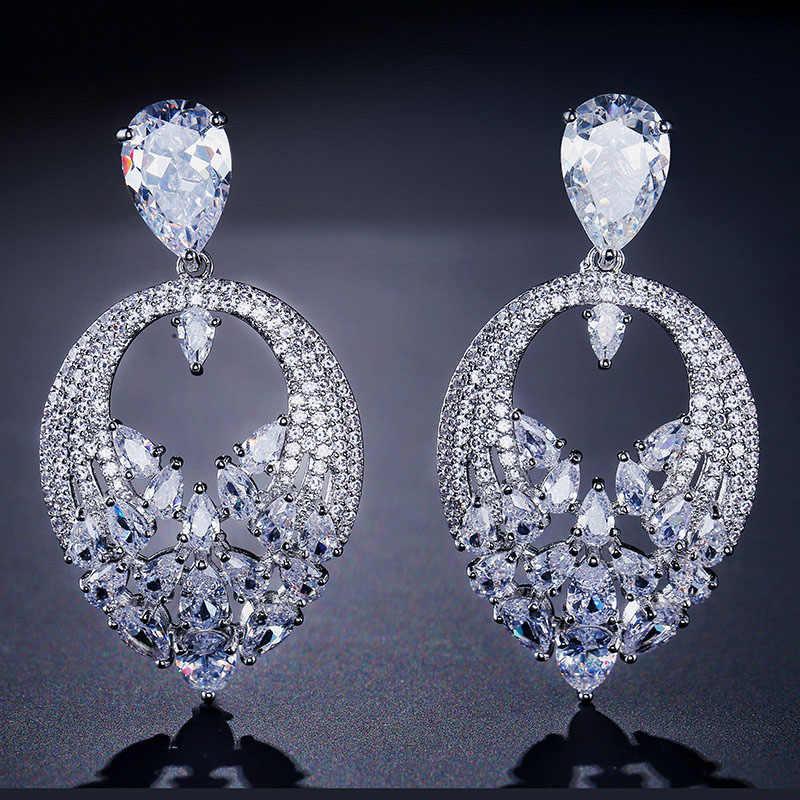 LISM мода большой персик серьги в форме сердца Полный Блестящий Mirco кубический циркон элегантные ювелирные изделия для женщин невесты свадебный подарок
