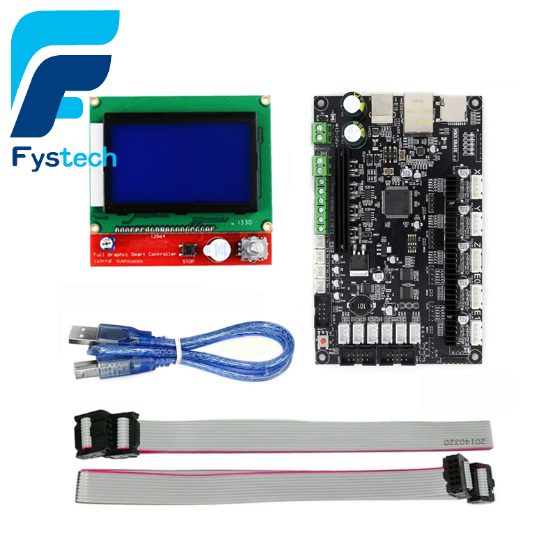 3D Printer 32bit Arm Platform Smooth Control Board MKS SBASE V1.3 + MKS 12864 TFT LCD Touch Screen Display Module 3 2inch lcd adapter 8 bit to 16 bit data convertor for 3 2 320x240 touch lcd 74hc573d onboard