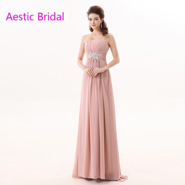 Pastel de Color Rosa Sin Tirantes de La Gasa Una Línea Vestido de ...