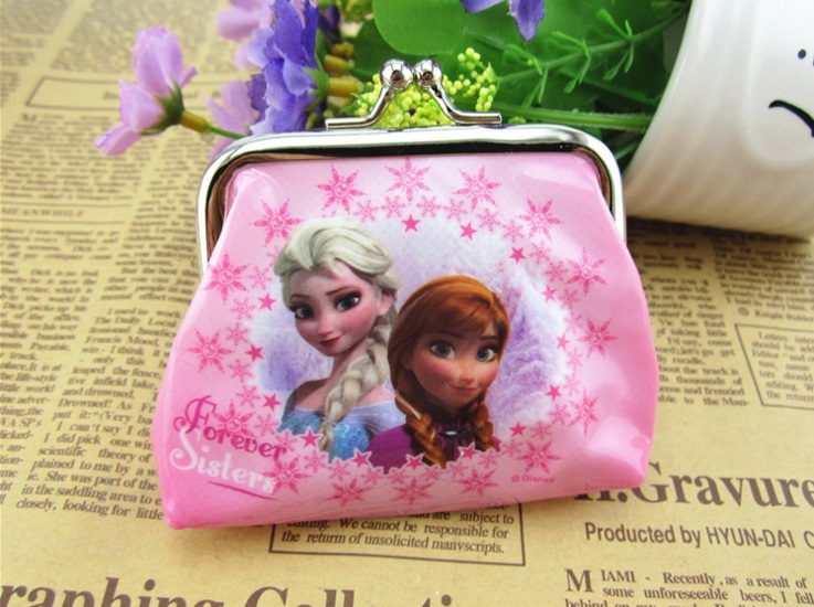 1 Piece pink Square Hasp PVC Coin Purses for girls Girls Snow Queen Children birthday gift Party Supplies
