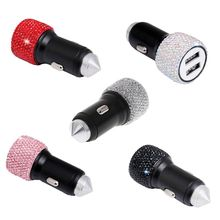 Dual USB Car Charger Bling Handmade Rhinestones Crystal Decorations for Fast Charging Decors