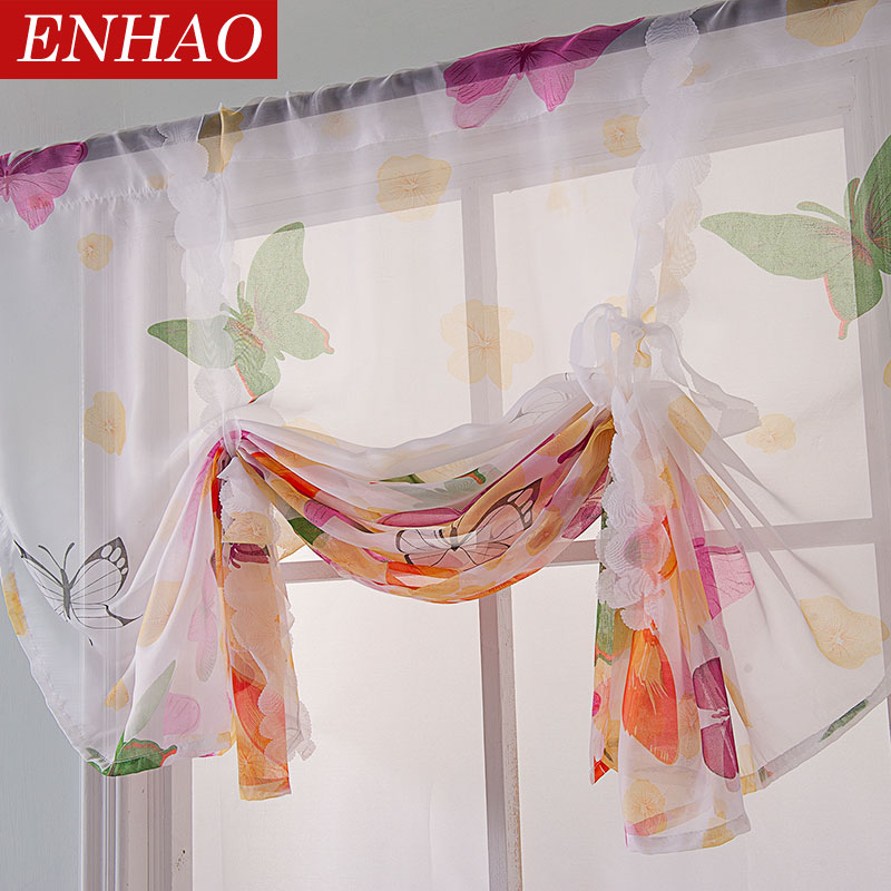 ENHAO Short Curtains Tulle Fabrics Short Curtains For Kitchen Curtains Roman Blinds Butterfly Design Window Treatments Sheer 3d