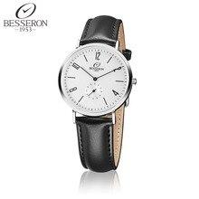 BESSERON 316L de Acero Inoxidable Correa de Cuero Genuino Marrón/Negro Análogo de Los Hombres Reloj de pulsera de Cuarzo 3ATM Impermeable de Moda 2016