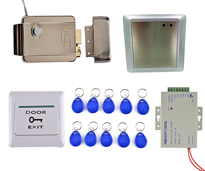 Electric Lock Waterproof 125KHz Rfid ID Card Reader Remote Control Door Access Control System Kit 8168A low cost m07e access control kit without software waterproof card reader card access control device with magnetic lock