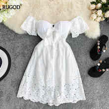 Rugod 2019 korea sumemr women  white solid strapless hollow out flare sleeve super fairy mujer veranos casual lady