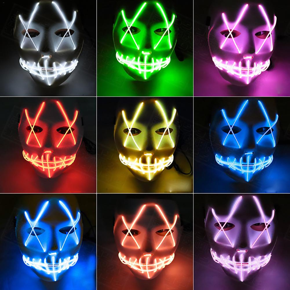 1 x Halloween Luminous Mask EL Cold Light Glowing Ghost Face Cosplay LED Glow Scary Grin Mask Ghost Festival Parties Costume