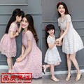 Real Clothes For Mother And Daughter Summer 2016 Autumn Family Quality Lace One-piece Dress Female Child Princess