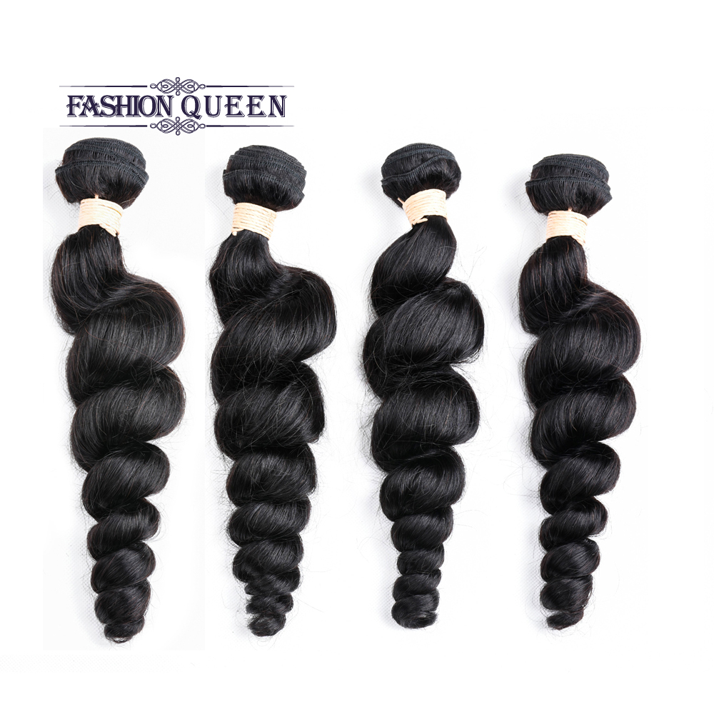 100% Malaysian Human Loose Wave Hair 4 Bundles with 4*4 Lace Closure Natural Color Free Shipping Non-remy Hair Extensions