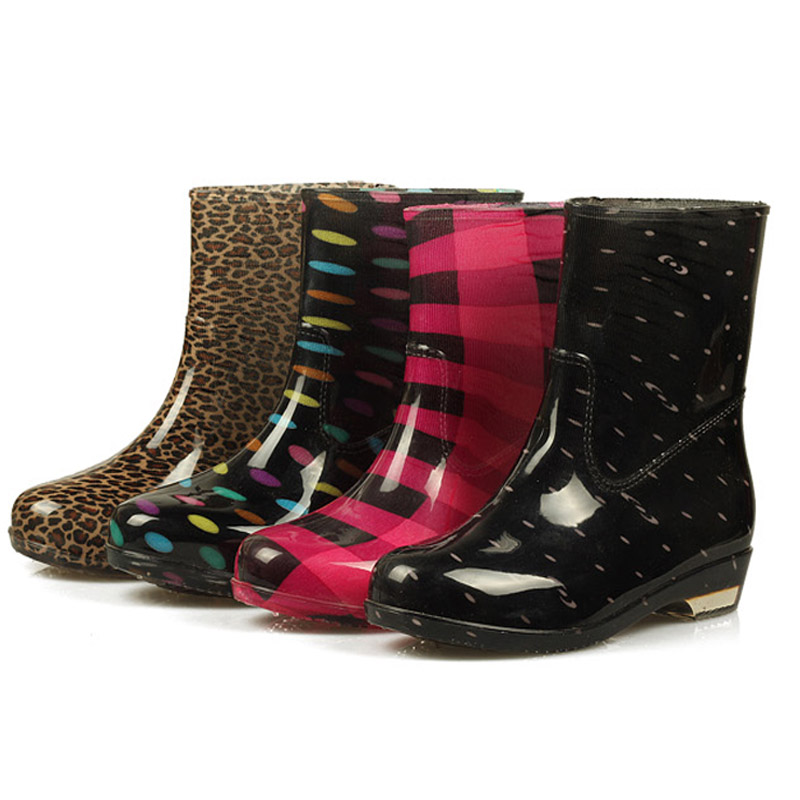 Hot selling 4 pattern plaid polka dot leopard women rainboots waterproof ankle font b boots b