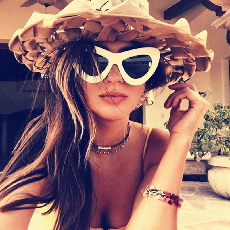 6c2a410fe2d35 New oversized cat eye óculos de sol das mulheres da moda sexy vintage marca  designer óculos de sol cateye feminino eyewear uv400
