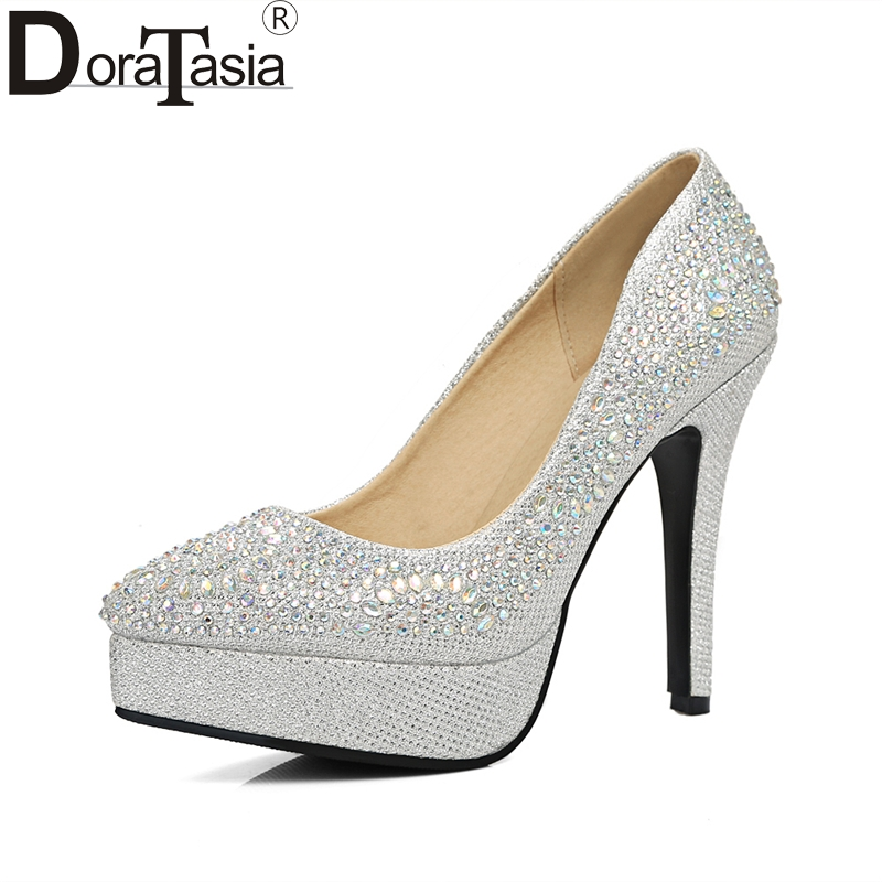 DoraTasia  Brand Top Quality Bling Upper Women Shoes Sexy Pointed Toe Thin High Heels Office Lady Bride Wedding Shoes Woman doratasia embroidery big size 33 43 pointed toe women shoes woman sexy thin high heels brand pumps party nightclub