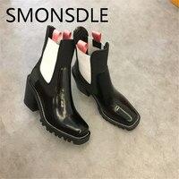 SMONSDLE 2018 Новая обувь на осень и зиму женские ботильоны из натуральной кожи квадратный носок не сужающийся к низу каблук Слипоны женские боти
