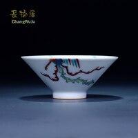 Changwuju в Цзиндэчжэнь Чашки и блюдца фарфоровая чайная посуда ручной работы синий и белый Столкновение цвет кунг фу китайский чай чашки