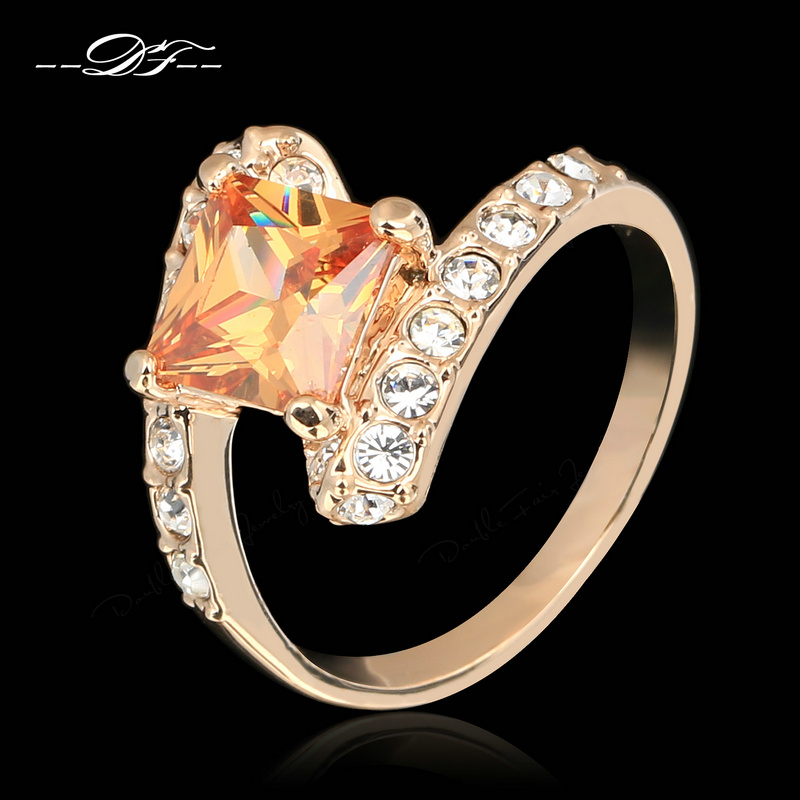 DFR354 Princess Cut Austrian Crystal Cubic Zirconia Finger Rings Rose Gold Color Fashion Brand Retro Jewelry For Women Anel