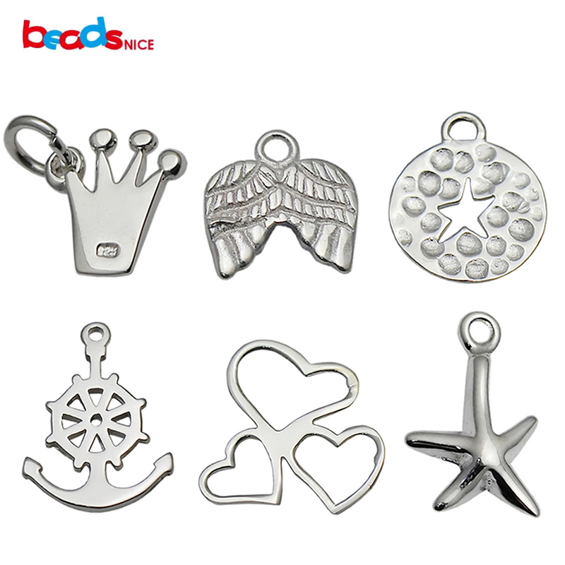Beadsnice Bracelet Charms Necklace Charms Sterling Silver Tiny Pendant Charms For DIY Jewelry Making ID34858