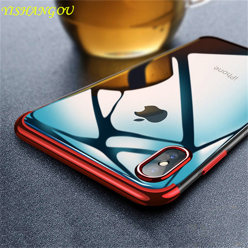 Luxury Plating Transparent Case For iPhone XS Max XR Clear Electroplate Soft Silicon Back Cover For iPhone X XR XS 6 6S 7 8 Plus