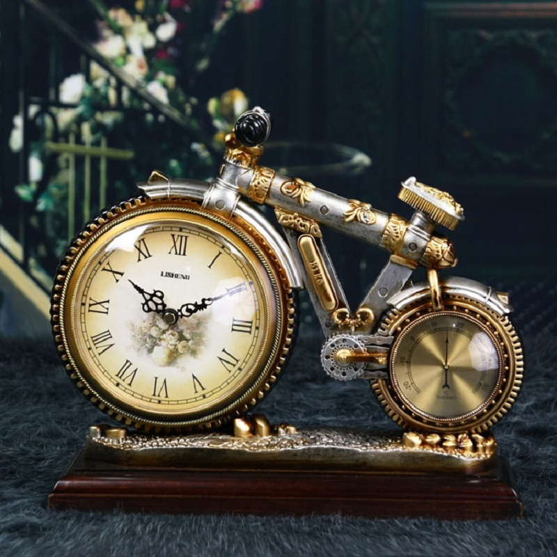 Nouveau Meijswxj support horloge Saat Reloj créatif vélo pendule bureau horloge Relogio Clocky muet rétro chevet horloges Relogio de mesa