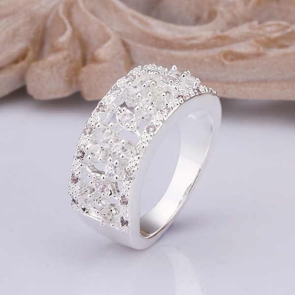 R312 Top Quality Silver Plated & Stamped 925 wide thick squre with ...