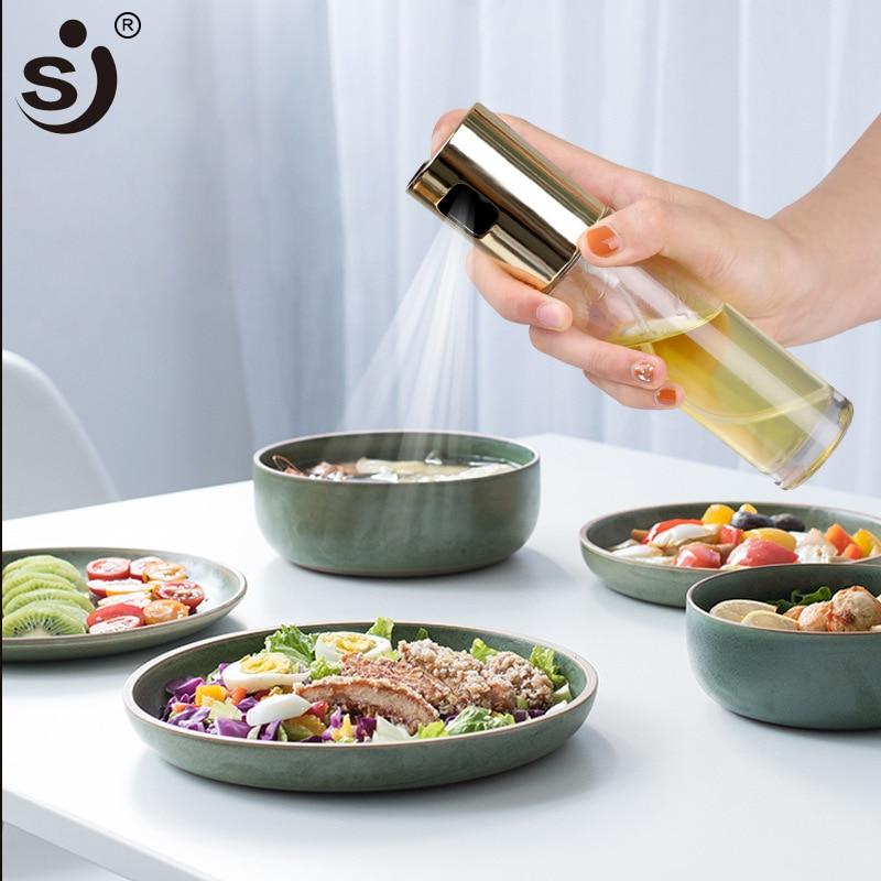 SJ Glas Olivenöl Sprayer Öl Spray Leere Flasche Essig Flasche Öl Spender für Kochen Salat BBQ Küche Backen