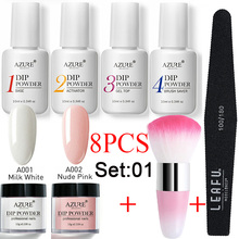 Azure Beauty 8Pcs/Lot Dipping Powder Set Nail Art Brush Tools Manicure Soak Off Base Top Coat Activator Saver Kits