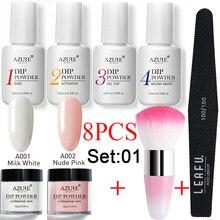 Azure Beauty 8Pcs/Lot Dipping Powder Set Nail Art Brush Tool