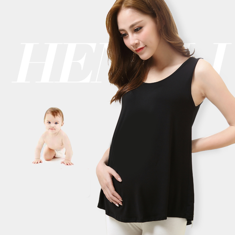 Maternity Clothes New Modal Thin Loose-fitting Maternity Vest Medium Length 2018 Summer Pregnancy Clothes for Women Large Size