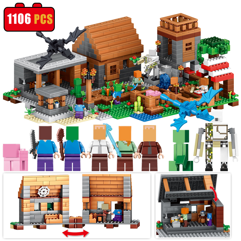 1106pcs Compatible Legos City Building Toys Minecraft Village Figures Building Blocks My World Brick Toys Sets Gift For Children 2017 hot sale girls city dream house building brick blocks sets gift toys for children compatible with lepine friends