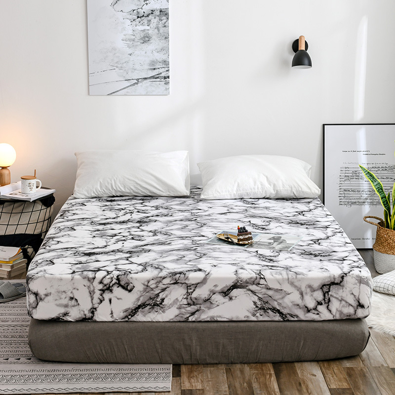 Black White Marble Printed Fitted Sheet Mattress Cover with All-around Elastic Rubber Band Bed Sheet US UK Size